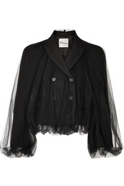 Cropped wool and tulle blazer