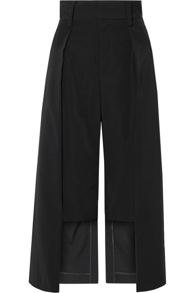 NOIR KEI NINOMIYA Cropped Satin-Twill Wide-Leg Pants in Black