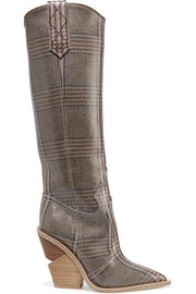 Fendi Prince of Wales checked coated-canvas knee boots