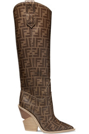 Logo-print coated-canvas knee boots