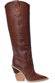Fendi Croc-effect leather knee boots
