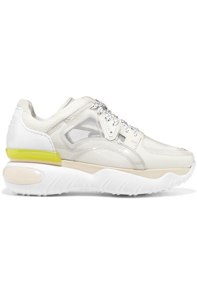 White Technical Mesh And Leather Sneakers