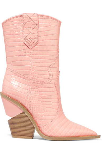 Fendi - Croc-effect Leather Boots - Baby pink