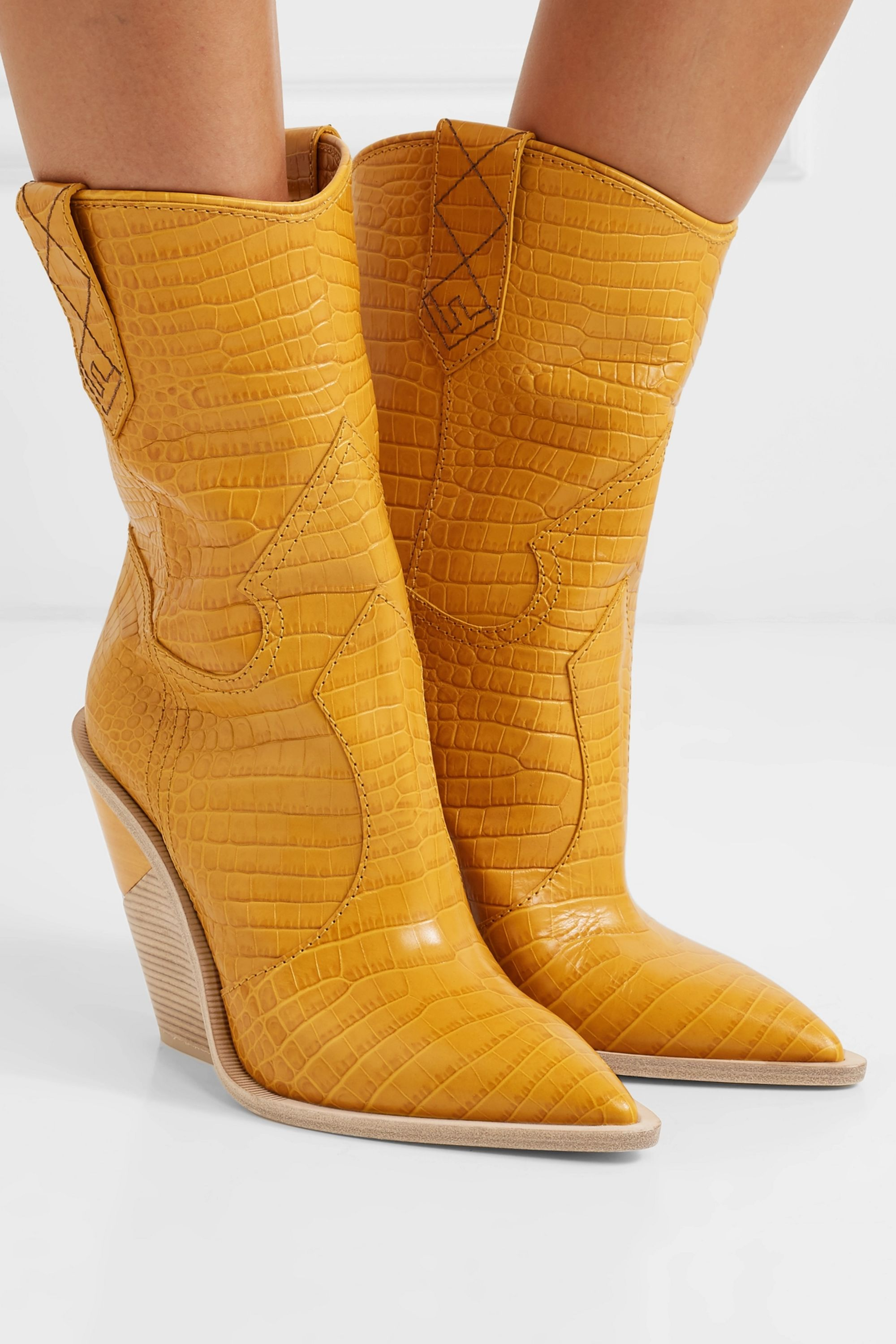 Yellow Croc-effect leather boots