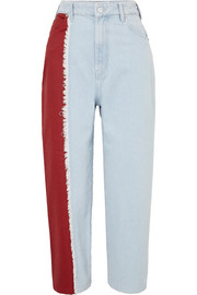 Two-tone high-rise straight-leg jeans
