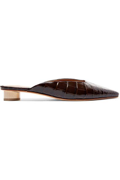 LOQ Carmen Croc-Effect Leather Mules in Brown