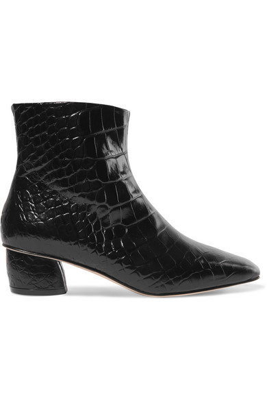 LOQ Matea Croc-Effect Leather Ankle Boots in Black