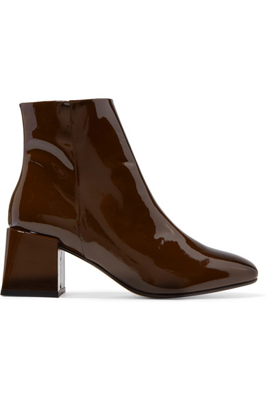 LOQ Lazaro Patent-Leather Ankle Boots in Brown