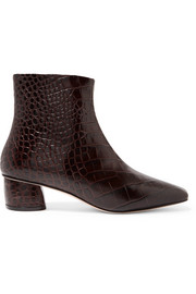 LOQ Matea croc-effect leather ankle boots