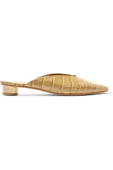 LOQ Carmen Croc-Effect Leather Mules
