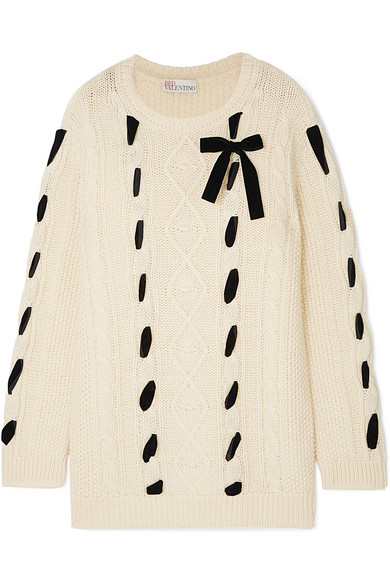 Red Valentino Cable Bow Knit Sweater