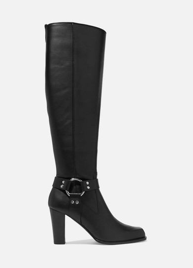 Lucy Harness Leather Knee Boots - Black Size 7