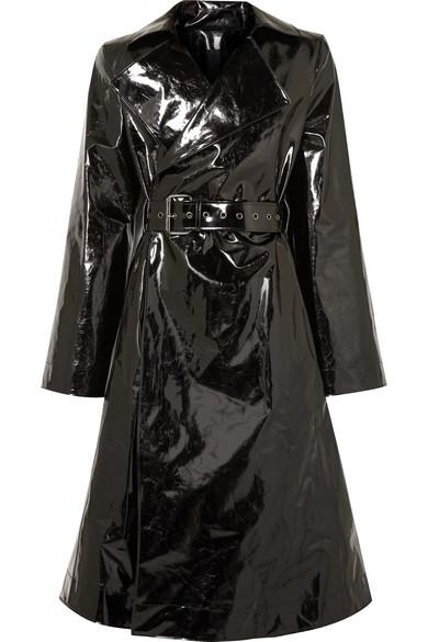 GARETH PUGH Belted Pvc Trench Coat in Black