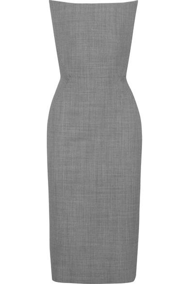 GARETH PUGH Strapless Wool-Jacquard Dress in Gray