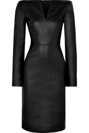 Leather and stretch-knit midi dress