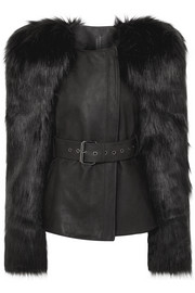 Belted faux fur and leather jacket