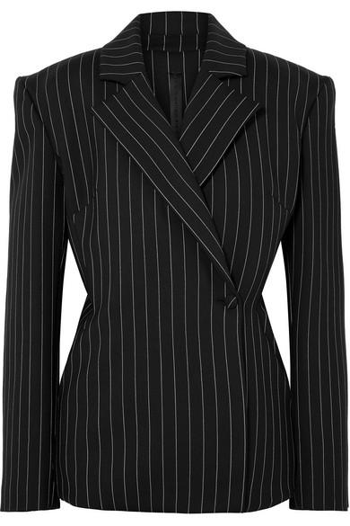 GARETH PUGH Pinstriped Wool-Blend Blazer in Black