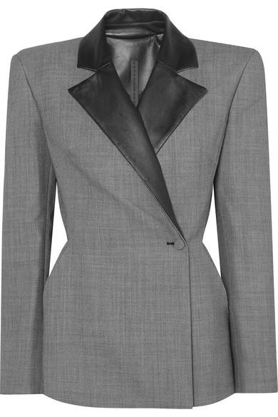 GARETH PUGH Leather-Trimmed Jacquard Blazer in Gray