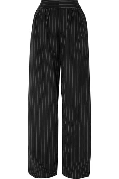 GARETH PUGH Pinstriped Wool-Blend Wide-Leg Pants in Black