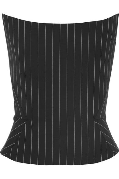 GARETH PUGH Pinstriped Wool-Blend Bustier Top in Black