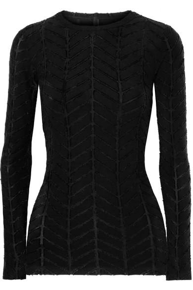 GARETH PUGH Appliquéd Stretch-Jersey And Twill Top in Black