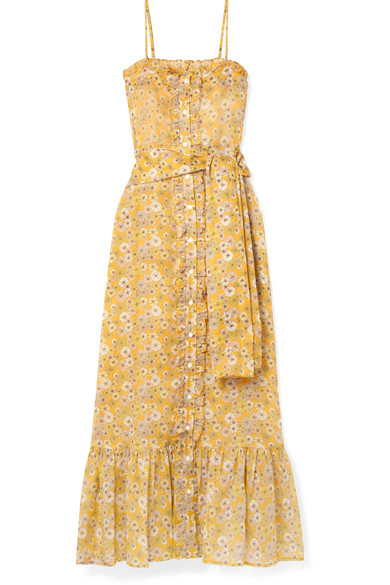 LISA MARIE FERNANDEZ BELTED RUFFLED FLORAL-PRINT COTTON-VOILE MAXI DRESS