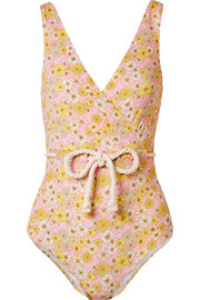 Yasmin belted floral-print stretch-crepe swimsuit