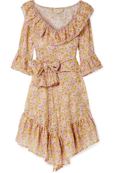 LISA MARIE FERNANDEZ LAURA RUFFLED FLORAL-PRINT COTTON-VOILE DRESS