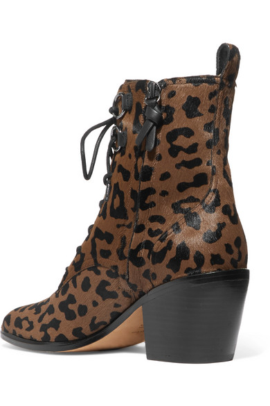 Diane von Furstenberg | Kalbshaar Dakota Ankle Boots aus Kalbshaar | mit Leopardenprint a06e23