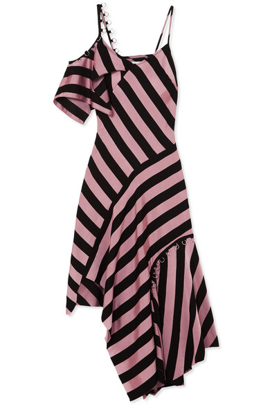 Asymmetric Embellished Striped Satin-Twill Midi Dress in Pink
