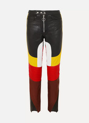 Color-block leather straight-leg pants