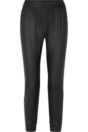 SPRWMN Cropped leather track pants