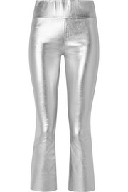 SPRWMN Cropped metallic stretch-leather leggings