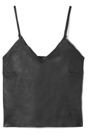 Stretch-leather camisole