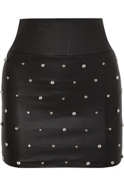 SPRWMN Crystal-embellished leather mini skirt