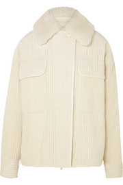 Shearling-trimmed cotton-corduroy jacket