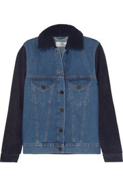Shearling-trimmed denim and suede jacket