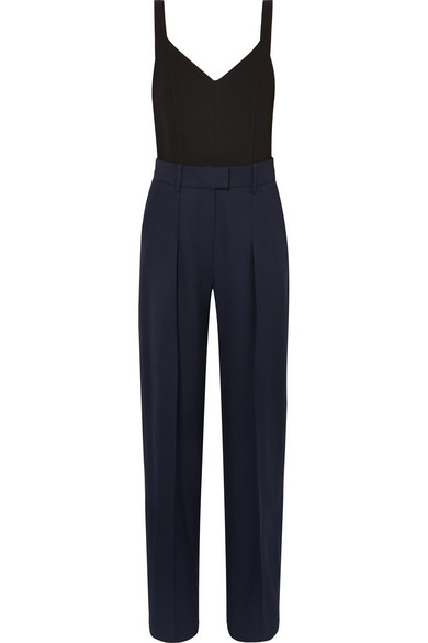 Two-Tone Wool And Jersey Jumpsuit in Navy
