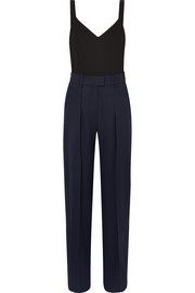 Two-tone wool and jersey jumpsuit