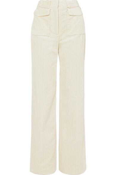 Victoria, Victoria Beckham - Cotton-corduroy Pants - Cream