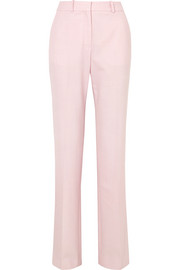 Stretch-woven straight-leg pants