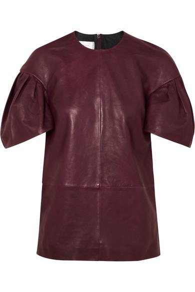 Victoria, Victoria Beckham - Leather Top - Burgundy