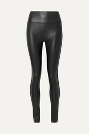 Faux stretch-leather leggings