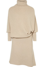 Agnona Asymmetric ribbed cashmere turtleneck dress