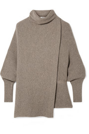 Agnona Belted asymmetric ribbed cashmere turtleneck sweater