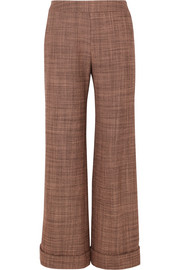 Wool-tweed straight-leg pants