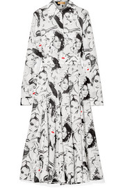 Michael Kors Collection + David Downton printed silk crepe de chine midi dress