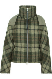 Hooded checked wool down jacket