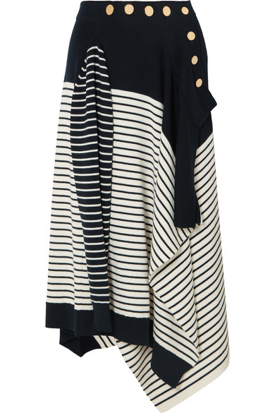 Marinière Asymmetric Wool-Blend Midi Skirt in Navy