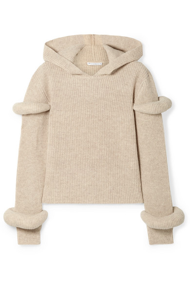 JW Anderson - Hooded Ribbed Wool And Alpaca-blend Sweater - Beige
